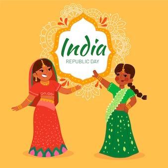 Célébration de la fête de la république indienne au design plat