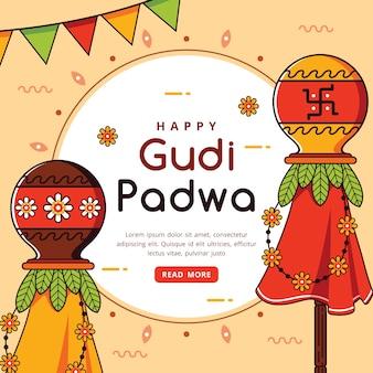 Célébration de gudi padwa dessiné à la main