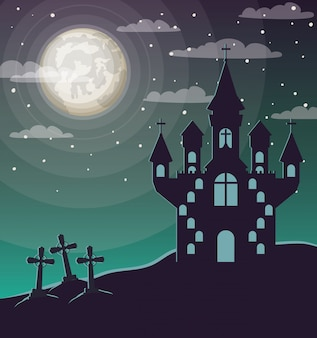 Célébration d'halloween avec cimetière et scène de château