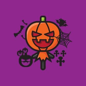 Célébration d'halloween personnage citrouille mignon