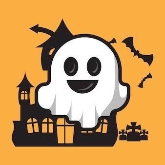 Célébration d'halloween personnage fantôme mignon