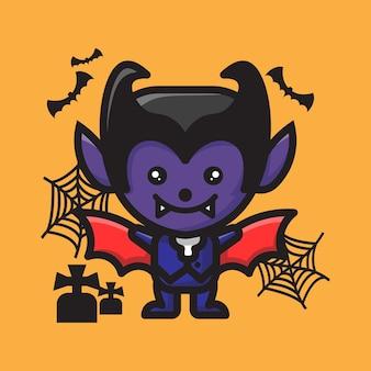 Célébration d'halloween de personnage de vampire mignon