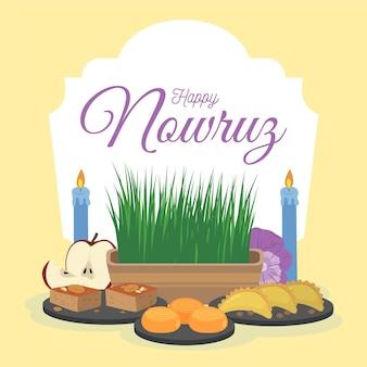 Célébration heureuse de nowruz dessinée à la main