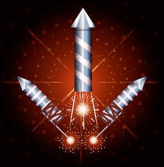 Célébration de l'icône de scène de feux d'artifice nuit