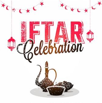Célébration iftar texte élégant avec illustration de produits alimentaires et boissons sur backg blanc