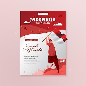 Célébration de l'illustration de la journée d'engagement de la jeunesse indonésienne sur un modèle d'affiche