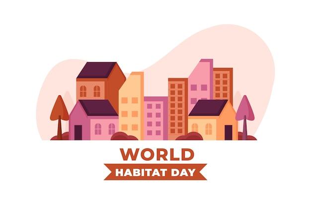 Célébration d'illustration de la journée mondiale de l'habitat