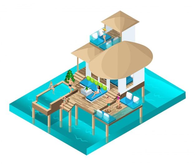 Célébration isométrique de noël dans une pièce chic des îles