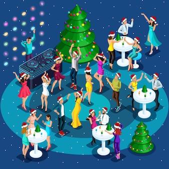 Célébration isométrique de noël, nouvel an, filles dans des vêtements sexy dansant, beaux hommes dansant, soirée club, soirée d'entreprise