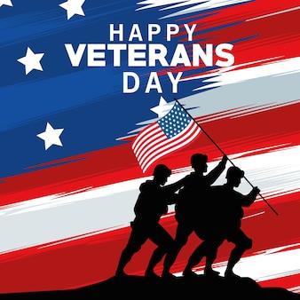 Célébration de la journée des anciens combattants heureux avec des soldats soulevant le drapeau des états-unis en pôle dans la conception d'illustration vectorielle de drapeau