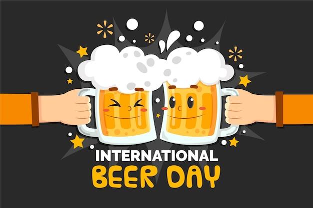 Célébration de la journée de la bière au design plat avec des tasses