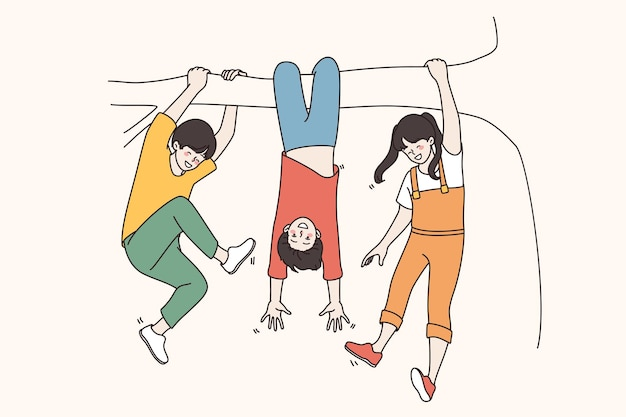 Célébration de la journée des enfants et du concept de l'enfance. joyeux enfants souriants accrochés à une branche d'arbre s'amusant à profiter de vacances ensemble illustration vectorielle