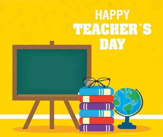 Célébration de la journée des enseignants heureux avec tableau noir et livres