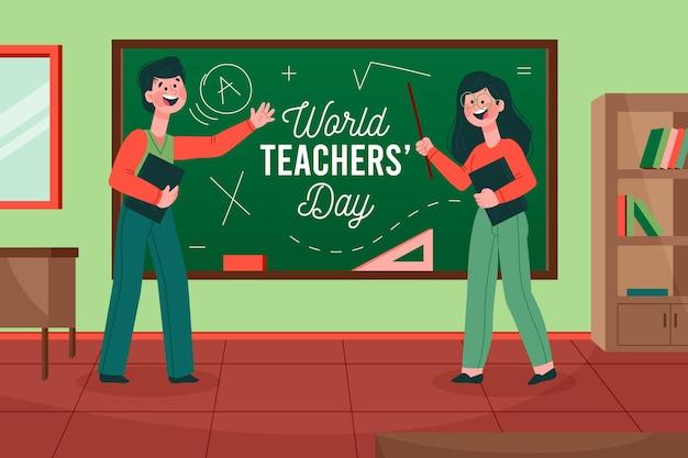 Célébration de la journée des enseignants de style dessiné à la main