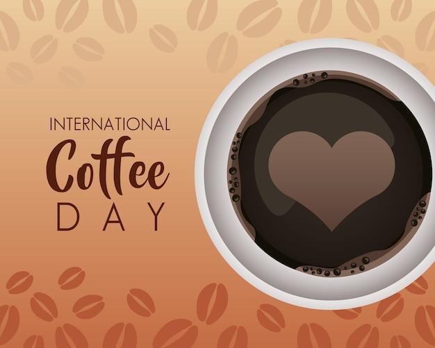 Célébration de la journée internationale du café avec coeur en vue aérienne de la tasse
