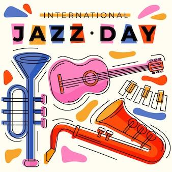 Célébration de la journée internationale du jazz au design plat