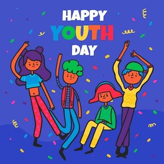 Célébration de la journée de la jeunesse au design plat