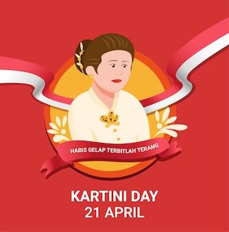 Célébration de la journée kartini pour ra kartini, un héros des femmes et des droits humains en indonésie. en illustration vectorielle plate de dessin animé