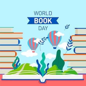 Célébration de la journée mondiale du livre design plat