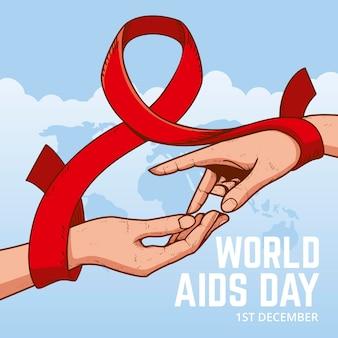 Célébration de la journée mondiale du sida dessiné à la main