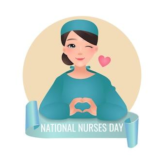 Célébration De La Journée Nationale Des Infirmières Belle Infirmière Montrant La Conception De Geste De Main Signe Coeur Isolé Vecteur Premium