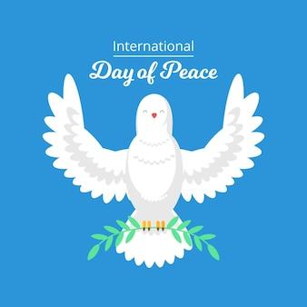 Célébration de la journée de la paix design plat avec colombe