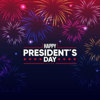 Célébration de la journée des présidents avec feux d'artifice