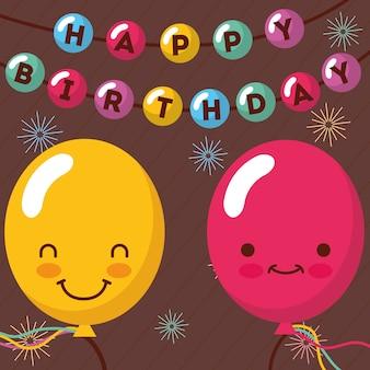 Célébration de lettrage de ballons kawaii souriant