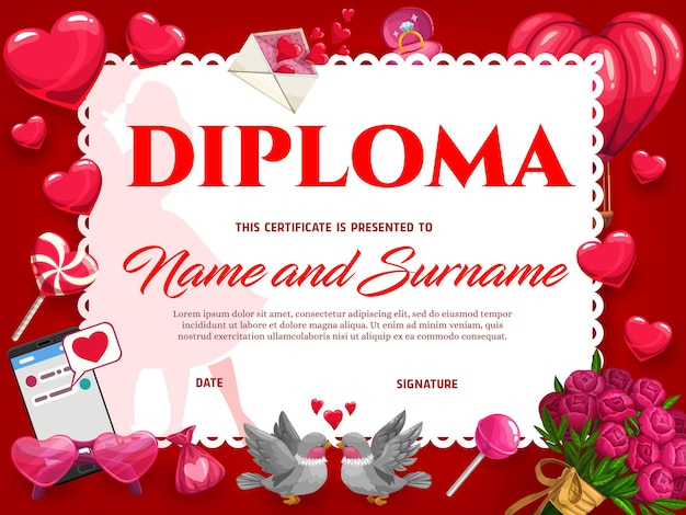 Célébration de mariage ou diplôme de la saint-valentin