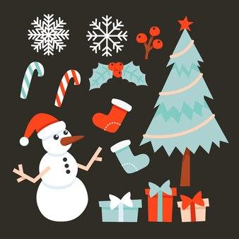 Célébration de noël cliparts arbres de noël biscuits bonhomme de neige présente des flocons de neige chaussettes bonbons