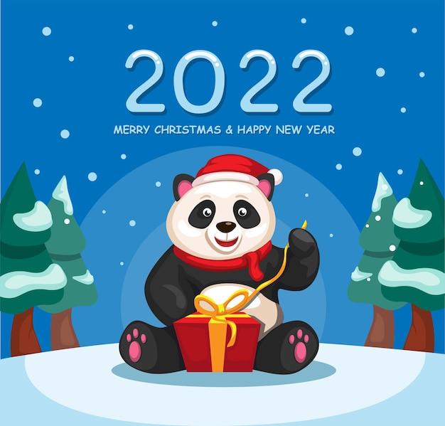 Célébration de noël et du nouvel an 2022 avec le vecteur d'illustration de dessin animé de boîte cadeau ouverte panda