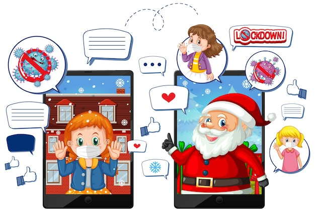 Célébration de noël en ligne via un appareil mobile