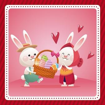 Célébration d'oeuf joyeux pâques panier lapin oeuf