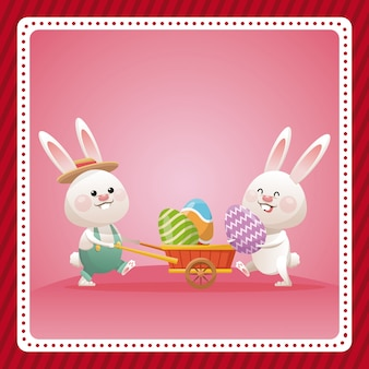 Célébration d'oeuf de lapin joyeux pâques