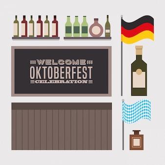 Célébration de l'oktoberfest avec des icônes définies