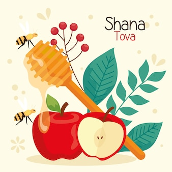 Célébration de rosh hashanah, nouvel an juif, avec décoration de pommes
