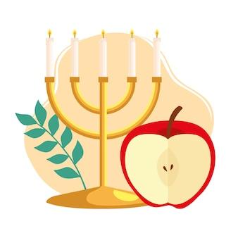 Célébration de rosh hashanah, nouvel an juif, avec lustre et pomme