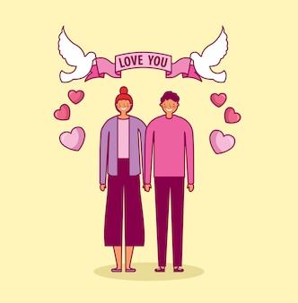 Célébration de la saint-valentin avec les amoureux et les colombes