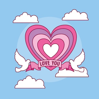 Célébration de la saint-valentin avec coeur et colombe