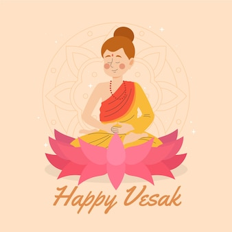 Célébration de vesak design dessiné à la main