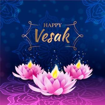 Célébration de vesak réaliste avec des fleurs de lotus
