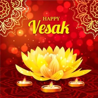 Célébration de vesak réaliste avec lotus