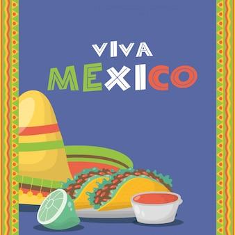 Célébration viva mexico avec nourriture et sauces