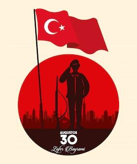Célébration de zafer bayrami avec silhouette soldat et drapeau