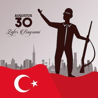 Célébration de zafer bayrami avec soldat et arme sur la ville en agitant le drapeau