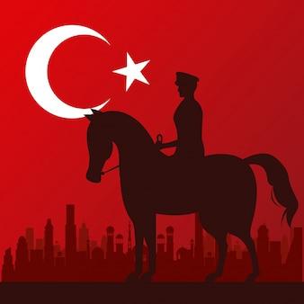 Célébration de zafer bayrami avec soldat en silhouette de cheval