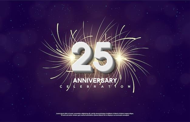 Célébrations du 25e anniversaire avec des chiffres blancs 3d et des pétards éclaboussent.