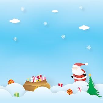 Célébrations de noël, bonne année, père noël et cadeaux, vecteur de l'artisanat, design