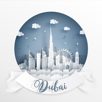 Célèbre monument de dubaï avec cadre blanc et étiquette