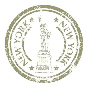 Célèbre statue de la liberté à new york sur grunge postal stamp. illustration vectorielle